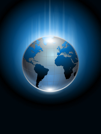 Abstract background blue glowing planet earth