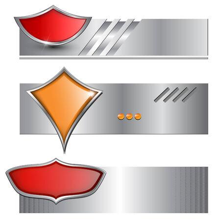 Banners, backgrounds metallic set Stock Vector - 7981326