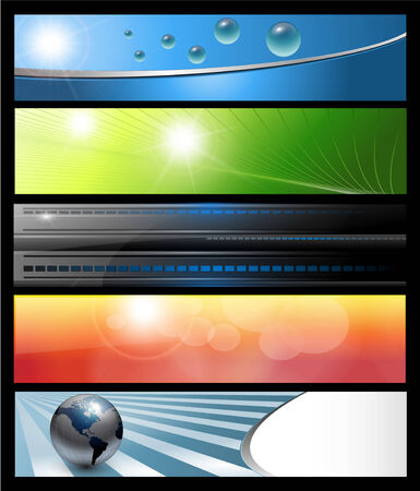 header label: Banners, headers colorful abstract set