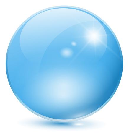 Glazen bol blauw Vector Illustratie