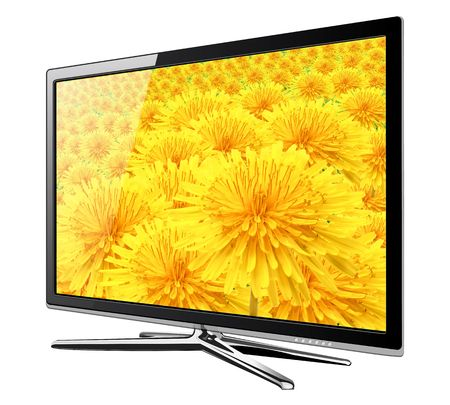Modern TV lcd, led with dandelion flowers on screen. photo
