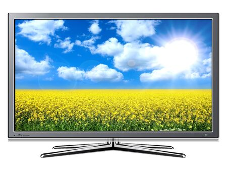 Modern TV lcd, led with rape field and blue sky on screen. Stock Photo - 7981342