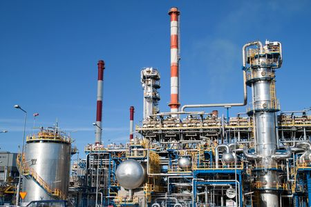 Oil refinery closeup - industrial shot photo