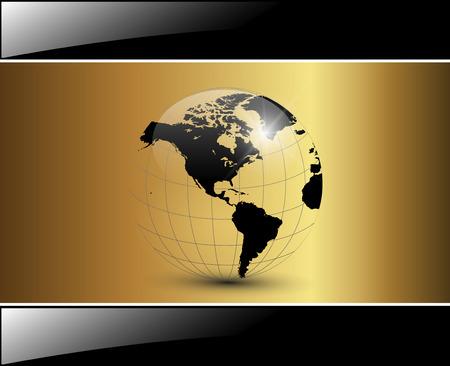 globo terraqueo: Fondo de negocio elegante brillante oro  Vectores