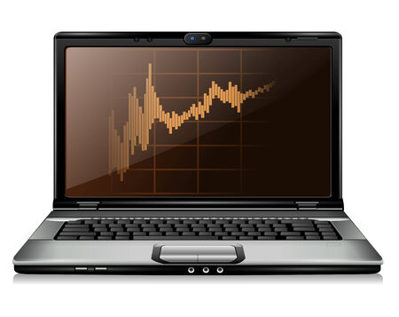 Laptop with business graph on screen Stock Vector - 8053825