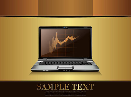 Business background gold with laptop  Vector