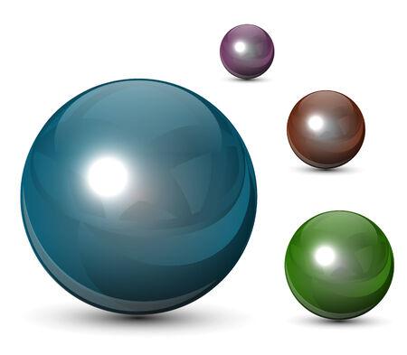 3D glass spheres, balls set Vetores