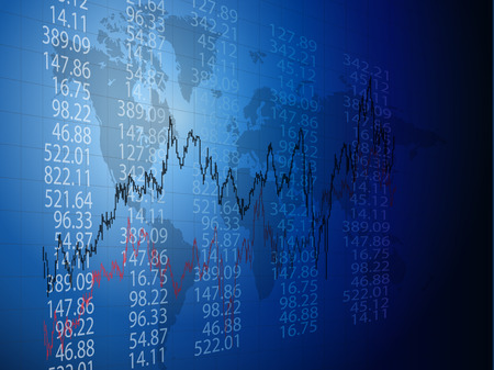 Arrière-plan avec les entreprises, les données financières et les diagrammes  Vecteurs