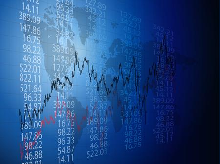 Hintergrund mit geschäftlichen, finanziellen Daten und Diagramme  Vektorgrafik