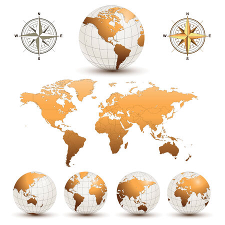 geography map: Earth globes with detailed world map