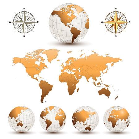 north america map: Globi di terra con una mappa dettagliata del mondo