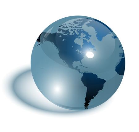 Vidrio de color azul, transparente de la tierra