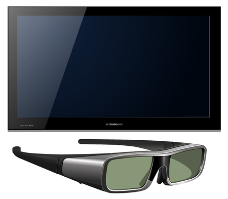 3D TV led with glasses - detailed   illustration. Vector