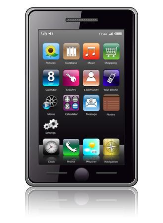 agenda electr�nica: Tel�fono m�vil con iconos, ilustraci�n realista de smart phone.