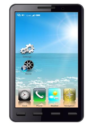아이콘이있는 휴대 전화, 스마트 폰