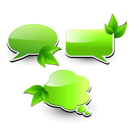 speech marks: Web elements, chat bubbles with leaves