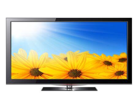 Flat screen tv lcd, plasma realistic illustration.