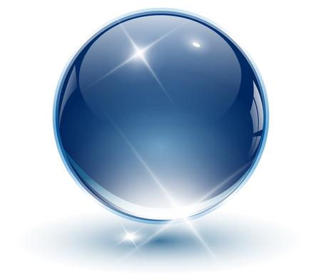 atomo: Bola de la esfera, azul de cristal 3D. ilustraci�n.