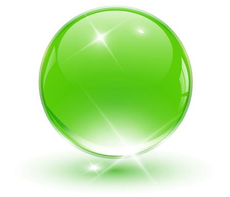 shinning: Bola de la esfera, verde de cristal 3D. ilustraci�n.
