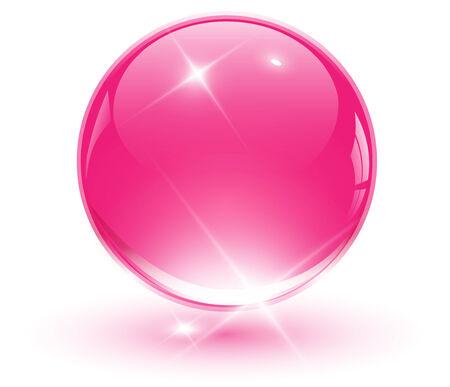 3D crystal sphere, pink ball.   illustration. Stock Vector - 8213616