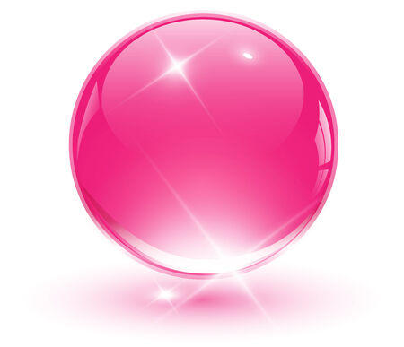 shinning: 3D crystal sphere, pink ball.   illustration.