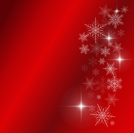 peaceful: Red Christmas background with snowflakes