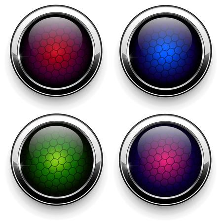 Web buttons set -  metallic with hexagon pattern Stock Vector - 8225541