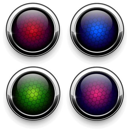 Web buttons set -  metallic with hexagon pattern  Ilustrace