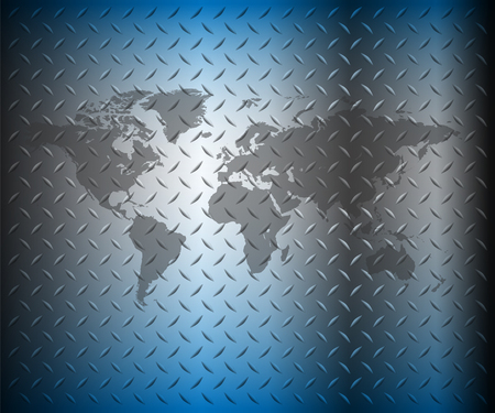 steel background: Business background, blue diamond plate with world map