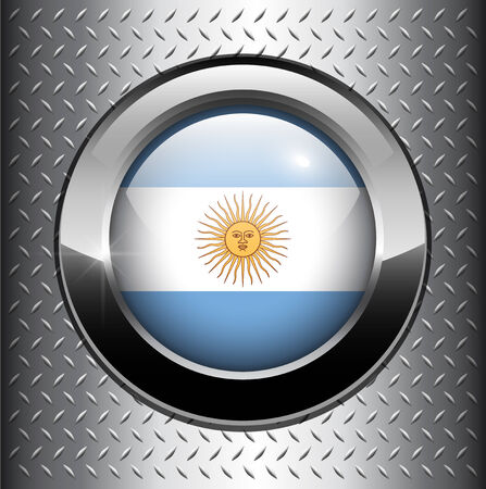 Argentina flag button on metal background Vector