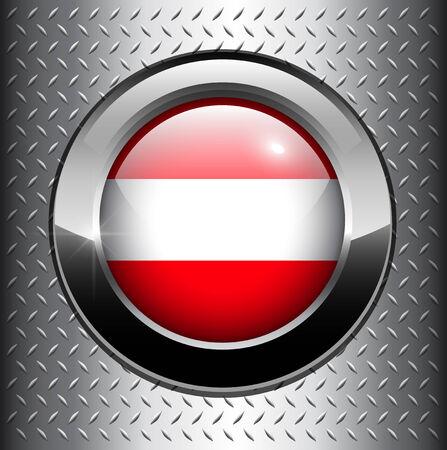 Austria, Austrian flag button on metal background  Vector