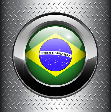 flag button: Brazil flag button on metal background  Illustration