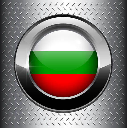 Bulgaria, Bulgarian flag button on metal background  Vector