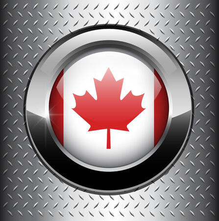 canadian state flag: Canada flag button on metal background  Illustration