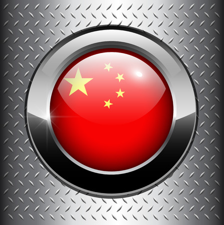 the republic of china: Peoples Republic of China flag button on metal background, vector.