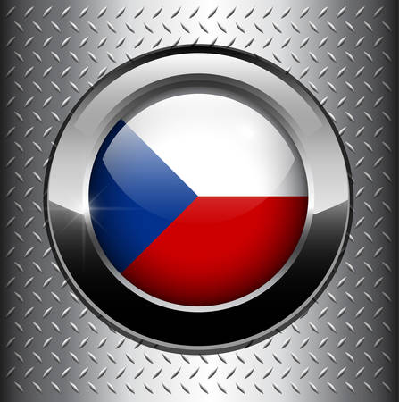 Czech Republic flag button on metal background  Vector