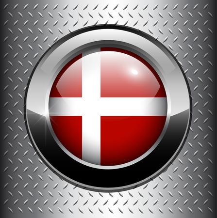Denmark flag button on metal background  Vector