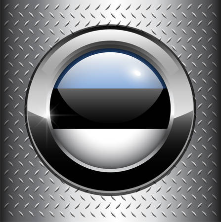 Estonia flag button on metal background  Vector