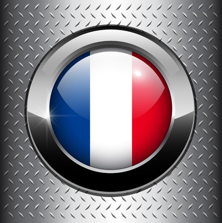 France flag button on metal background  Vector