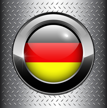 German, Germany flag button on metal background  Vector