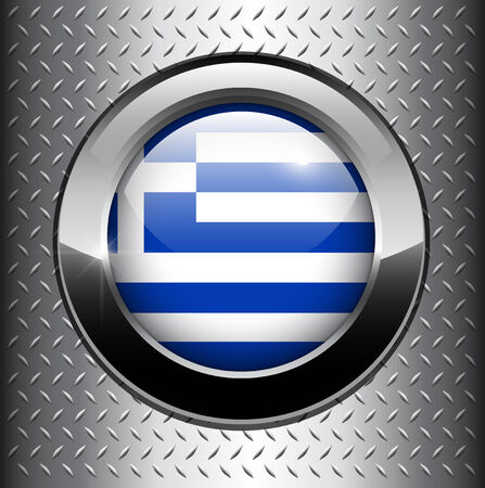 Greece flag button on metal background  Vector