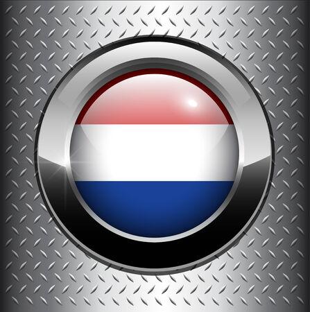 holanda bandera: Bot�n de bandera de Holanda sobre fondo de metal