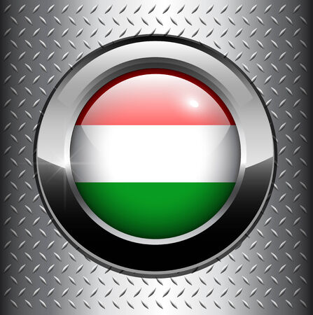 Flag of Hungary button on metal background  Vector