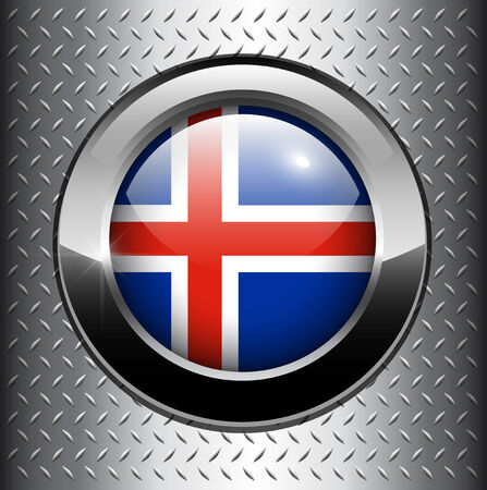 Flag of Iceland button on metal background  Vector