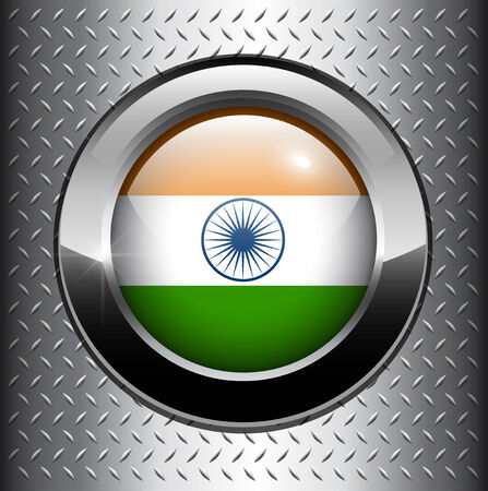 India, Indian flag button on metal background  Vector