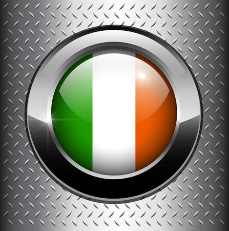 Ireland flag button on metal background  Vector