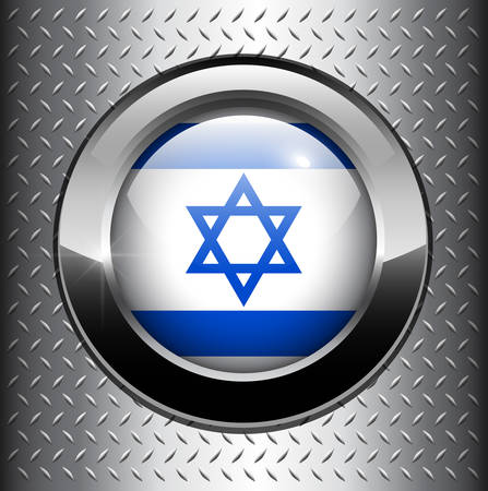 diamond plate background: Flag of Israel button on metal background  Illustration