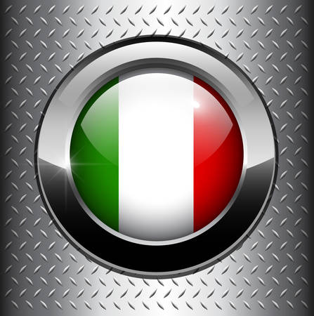 Italian, Italy flag button on metal background  Vector