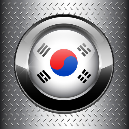 National flag of South Korea, Korean flag button on metal background  Vector