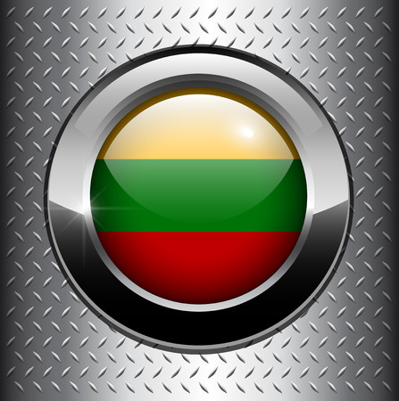 Lithuania flag button on metal background  Vector